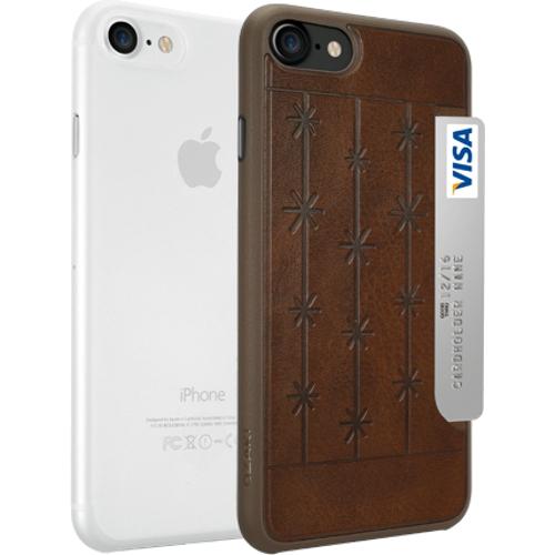 Набор чехлов Ozaki O!coat Jelly+Pocket 2 in 1 для iPhone 7 (Айфон 7) коричневый+прозрачныйЧехлы для iPhone 7<br>Чехол Ozaki Jelly 0.3 + Ozaki Pocket для iPhone 7 - прозрачный/коричневый<br><br>Цвет товара: Разноцветный<br>Материал: Поликарбонат, полиуретановая кожа