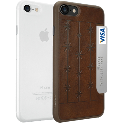Набор чехлов Ozaki O!coat Jelly+Pocket 2 in 1 для iPhone 7 (Айфон 7) коричневый+прозрачный