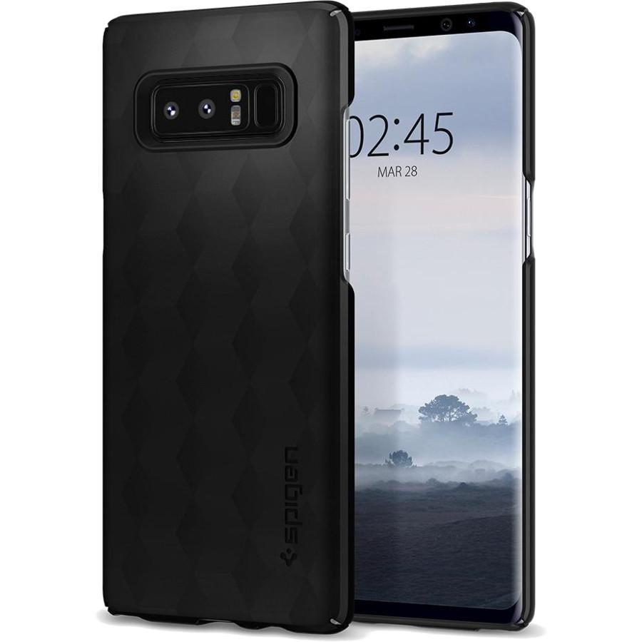 Чехол Spigen Thin Fit для Samsung Galaxy Note 8 матово-чёрный (587CS22051)Чехлы для Samsung Galaxy Note<br>Это износостойкий материал, прочный и лёгкий, не боится перепадов температур и не выгорает на солнце.<br><br>Цвет товара: Чёрный<br>Материал: Поликарбонат