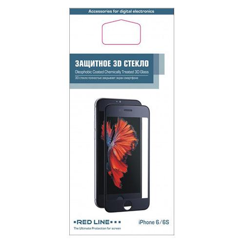 Защитное стекло Red Line 3D для iPhone 6/6S 0.2 мм чёрноеСтекла/Пленки на смартфоны<br>Защитное стекло RED LINE для iPhone 6/6S 4.7 0.2mm - с черной рамкой<br><br>Цвет товара: Чёрный<br>Материал: Стекло