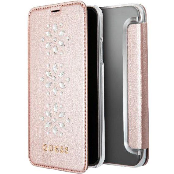 Чехол Guess Studs &amp; Sparkles Booktype PU Snowflakes для iPhone X розовыйЧехлы для iPhone X<br>Guess Studs &amp; Sparkles Booktype PU защитит ваш iPhone X со всех сторон!<br><br>Цвет товара: Розовый<br>Материал: Экокожа, поликарбонат, термопластичный полиуретан