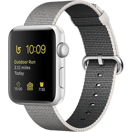 Часы Apple Watch Series 2 42 мм, серебристый алюминий, ремешок из плетёного нейлона жемчужныйУмные часы<br>Часы Apple Watch Series 2 42 мм, серебристый алюминий, ремешок из плетёного нейлона жемчужный<br><br>Цвет товара: Серый<br>Материал: Алюминий серии 7000 анодированный<br>Модификация: 42 мм