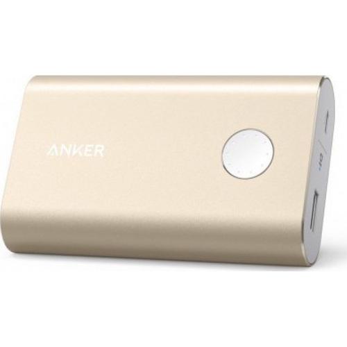 Портативный аккумулятор Anker PowerCore+ 10050 мАч (A13100B1) золотистыйВнешние аккумуляторы<br>Дополнительный аккумулятор Anker PowerCore+ 10050 мАч — это мощный источник питания в самых непредвиденных ситуациях.<br><br>Цвет товара: Золотой<br>Материал: Алюминий