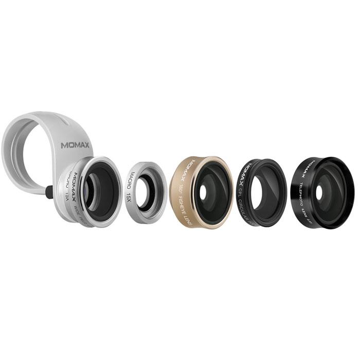 Универсальный комплект линз Momax X-Lens 5 in 1 Superior Lens Set дл смартфоновОбъективы<br>С Momax X-Lens 5 in 1 Superior Lens Set вы сможете делать фотографии премиум-качества!<br><br>Цвет товара: Чёрный<br>Материал: Алминий, стекло