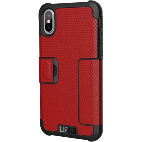 Чехол UAG Metropolis Series Case для iPhone X красный MagmaЧехлы для iPhone X<br>Чехол-книжка UAG Metropolis Series Case для iPhone X обеспечивает защиту на все 360°.<br><br>Цвет товара: Красный<br>Материал: Термопластичный полиуретан, поликарбонат