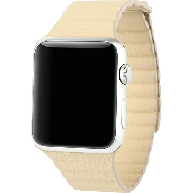 Кожаный ремешок Baseus Back Series с магнитной застежкой для Apple Watch 42 мм бежевыйРемешки для Apple Watch<br>Ремешок способен в полной мере отразить всю вашу индивидуальность, придавая особую привлекательность вашим Apple Watch<br><br>Цвет: Бежевый<br>Материал: Полиуретановая кожа