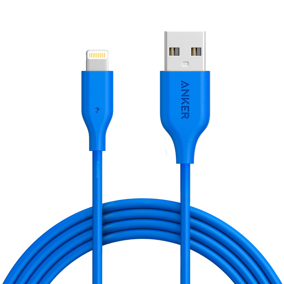 Кабель Anker PowerLine Lightning (1,8 метра) голубой (A8112H31)Кабели Lightning<br>Невероятно прочный и быстрый кабель Anker PowerLine для подключения и синхронизации устройств Apple с Lightning разъемом.<br><br>Цвет товара: Голубой<br>Материал: Пластик, силикон, пара-арамидное волокно
