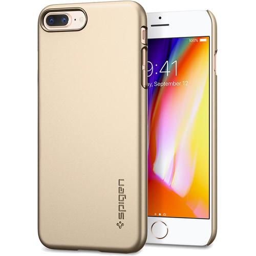 Чехол Spigen Thin Fit для iPhone 8 Plus (Айфон 8 Плюс) шампань (SGP-055CS22239)Чехлы для iPhone 8 Plus<br>Spigen Thin Fit — это чехол с лёгким и свежим дизайном, который создан специально для iPhone 8 Plus!<br><br>Цвет товара: Золотой<br>Материал: Поликарбонат