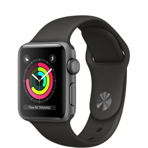 Умные часы Apple Watch Series 3 38мм, алюминий «серый космос», спортивный ремешок серого цветаУмные часы<br>Apple Watch S3 38mm Space Gray Aluminum Case, Gray Sport Band<br><br>Цвет товара: Серый<br>Материал: Алюминий, фторэластомер, задняя панель из композитного материала, стекло Ion-X повышенной прочности<br>Цвета корпуса: серый<br>Модификация: 38 мм