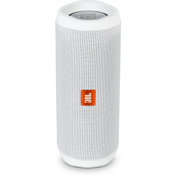 Портативная акустическая система JBL Flip 4 белаяКолонки и акустика<br>Портативная и водонепроницаемая беспроводная акустическая система JBL Flip 4 с удивительно мощным звучанием и множеством полезных функций.<br><br>Цвет товара: Белый<br>Материал: Пластик, текстиль