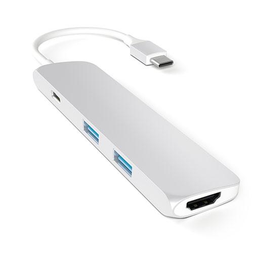 Переходник Satechi Slim Aluminum Type-C Multi-Port Adapter (4K HDMI, сквозной порт питания, 2х USB) серебристый (ST-CMAS)Хабы - разветвители USB<br>Переходник Satechi Slim Aluminum Type-C Multi-Port Adapter позволяет подключать к MacBook c портом USB-C одновременно до двух устройств со стандартным USB-разъемом.<br><br>Цвет товара: Серебристый