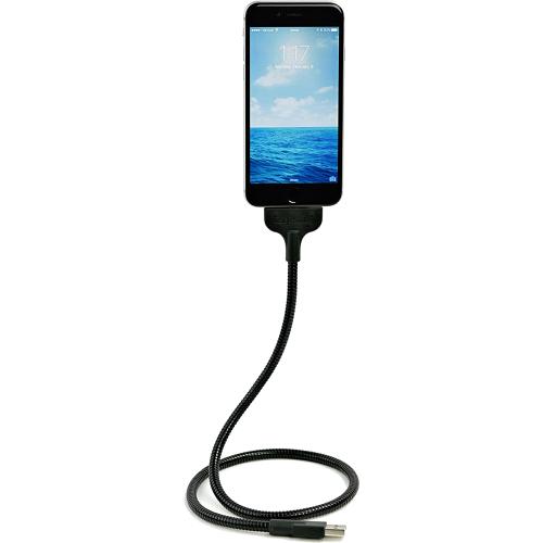 Кабель-автодержатель USB Fuse Chicken Bobine Blackout Auto в стальной оплётке для iPhone (Айфон) чёрныйКабели Lightning<br><br><br>Цвет товара: Чёрный<br>Материал: Нержавеющая сталь, пластик