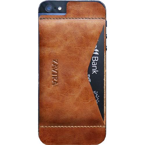 Чехол-кошелёк ZAVTRA для iPhone 5/5s/SE коричневыйЧехлы для iPhone 5s/SE<br>Элегантность и минимализм<br><br>Цвет товара: Коричневый<br>Материал: Натуральная кожа, пластик