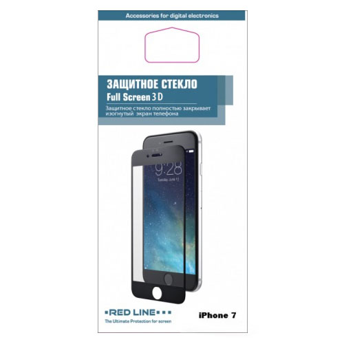 Защитное стекло Red Line 3D для iPhone 7 чёрноеСтекла/Пленки на смартфоны<br>Защитная 3D стекло RED LINE для iPhone 7 [4,7] - черная рамка<br><br>Цвет товара: Чёрный<br>Материал: Стекло