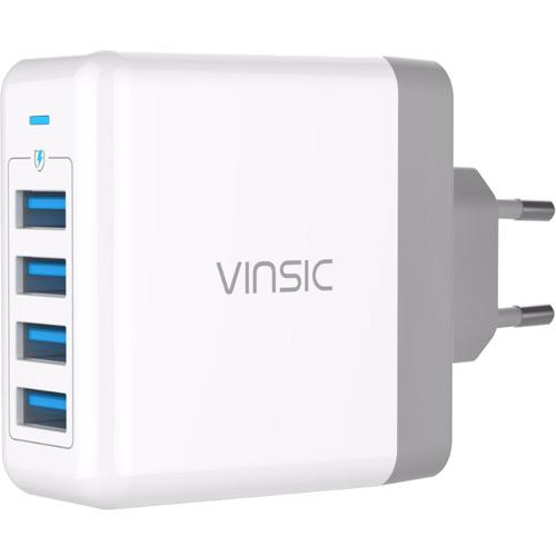Сетевое зарядное устройство Vinsic 4 Ports USB Smart Charge (VSCW404) белоеСетевые зарядки<br>Компактное и удобное зарядное устройство с технологией интеллектуальной зарядки Smart Charge.<br><br>Цвет товара: Белый<br>Материал: Пластик