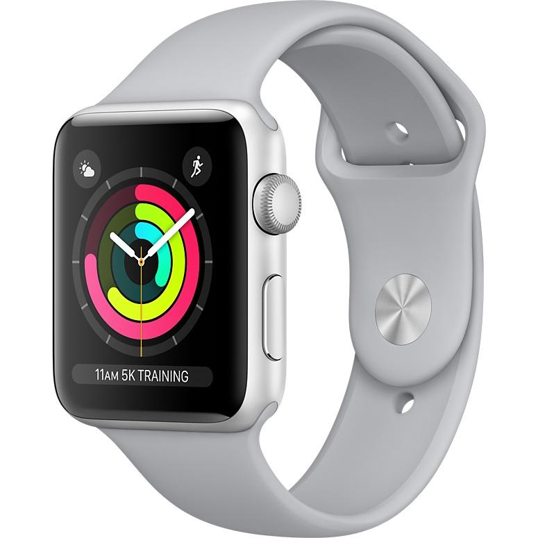 Купить со скидкой Умные часы Apple Watch Series 3 42мм, серебристый алюминий, спортивный ремешок дымчатого цвета