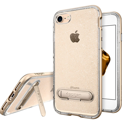 Чехол Spigen Crystal Hybrid Glitter для iPhone 7 (Айфон 7) шампань (SGP-042CS21212)Чехлы для iPhone 7<br>Ультратонкий, ультралёгкий и кристально-прозрачный чехол Spigen Crystal Hybrid Glitter создан специально для iPhone 7.<br><br>Цвет товара: Золотой<br>Материал: Термопластичный полиуретан, поликарбонат