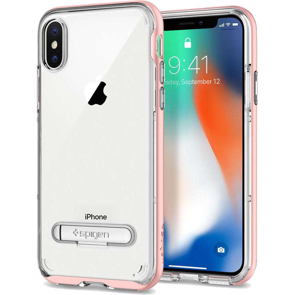 Чехол Spigen Crystal Hybrid для iPhone X розовое золото (057CS22146)Чехлы для iPhone X<br>Сочетание прочной панели из поликарбоната и гибкого бампера из термопластичного полиуретана убережёт ваш смартфон не только от пыли и цар...<br><br>Цвет товара: Розовое золото<br>Материал: Термопластичный полиуретан, поликарбонат