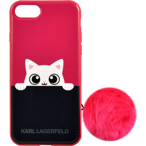 Чехол Karl Lagerfeld K-Peek A Boo Hard TPU для iPhone 7 (Айфон 7) розовый/чёрныйЧехлы для iPhone 7<br>Чехол Karl Lagerfeld для iPhone 7 K-Peek A Boo Hard TPU Pink<br><br>Цвет товара: Розовый<br>Материал: Термопластичный полиуретан TPU