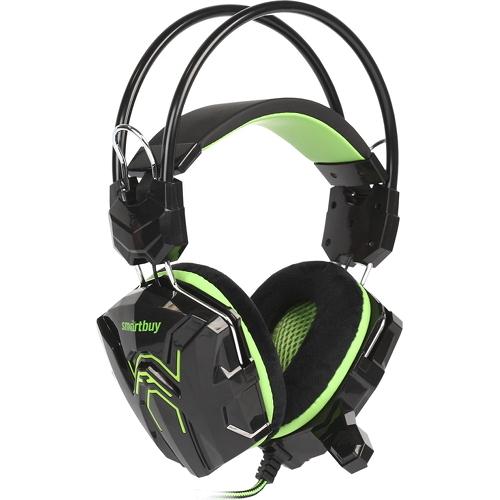 Игровая гарнитура Smartbuy Rush Cobra чёрный/зелёный (SBHG-1200)Полноразмерные наушники<br>Игровая гарнитура Smartbuy Rush Cobra чёрный/зелёный (SBHG-1200)<br><br>Цвет товара: Зелёный<br>Материал: Пластик, металл, велюр