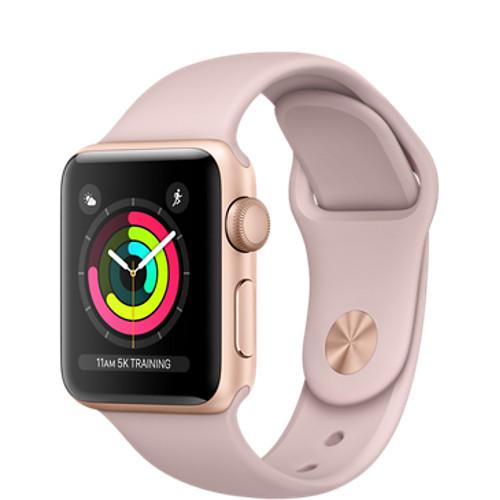 Умные часы Apple Watch Series 3 38мм, золотистый алюминий, спортивный ремешок цвета «розовый песок»Умные часы<br>Apple Watch S3 38mm Gold Aluminum Case, Pink Sand Sport Band<br><br>Цвет товара: Розовый<br>Материал: Алюминий, фторэластомер, задняя панель из композитного материала, стекло Ion-X повышенной прочности<br>Цвета корпуса: золотой<br>Модификация: 38 мм