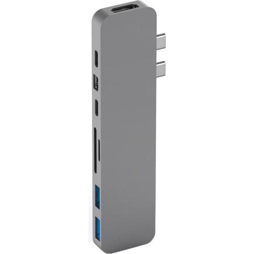 Хаб HyperDrive PRO 8-in-2 Hub для MacBook Pro 2016/2017 серый космосХабы - разветвители USB<br>Быстрый хаб HyperDrive PRO 8-in-2 Hub удобен в использовании, компактен и невероятно универсален.<br><br>Цвет: Серый космос<br>Материал: Алюминий