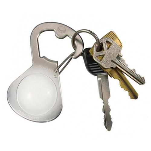 Брелок для ключей Nitelze GetLit стальнойБрелоки и карабины<br>Брелок для ключей NitelzeGetLit с открывашкой и фонариком стальной<br><br>Цвет товара: Белый<br>Материал: Силикон, металл