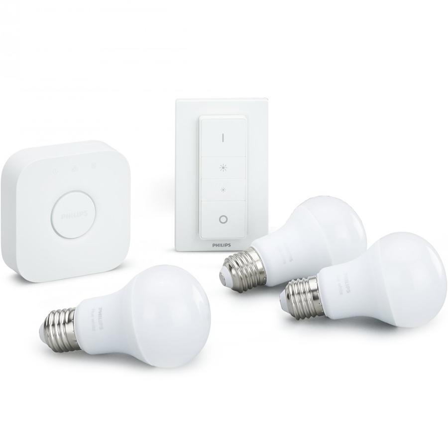 Комплект умных ламп Philips Hue White E27 Starter Kit с выключателем и маршрутизаторомУмные лампы<br>Благодаря комплекту умных ламп Philips Hue вы сможете создать в своём доме настоящую симфонию света!<br><br>Цвет: Белый<br>Материал: Пластик, металл, керамика
