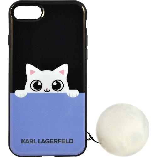 Чехол Karl Lagerfeld K-Peek A Boo Hard TPU для iPhone 7 (Айфон 7) чёрный/голубой
