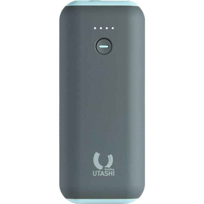 Внешний аккумулятор SmartBuy UTASHI A 5000 мАч серый/голубой (SBPB-725)Дополнительные и внешние аккумуляторы<br>Внешний аккумулятор SmartBuy UTASHI A Series для быстрой зарядки гаджетов на ходу!<br><br>Цвет: Голубой<br>Материал: Пластик с покрытием soft-touch