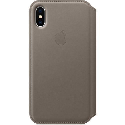 Кожаный чехол Apple Leather Folio для iPhone X тёмно-серый (Taupe)Чехлы для iPhone X<br>Кожаный чехол-книжка от Apple — отличное дополнение к вашему iPhone X. Apple Leather Folio оснащен удобными отделениями для денег и карточек, что позволяет использовать чехол в роли кошелька.<br><br>Цвет товара: Серый<br>Материал: Натуральная кожа, пластик, текстиль