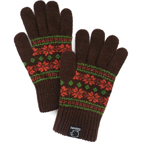Перчатки iGloves (g13) для iPhone/iPod/iPad/etc коричневые со снежинками (Размер M) от iCases