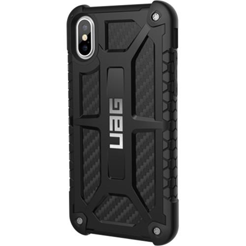 Чехол UAG Monarch Series Case для iPhone X карбонЧехлы для iPhone X<br>UAG Monarch Series Case — это целых 5 слоёв защиты и особые технологии, позволяющие уберечь ваш iPhone X от самых различных повреждений.<br><br>Цвет товара: Чёрный<br>Материал: Термопластичный полиуретан, поликарбонат, карбоновое волокно, металл