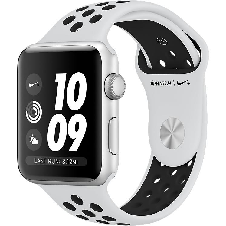 Умные часы Apple Watch Series 3 42мм, серебристый алюминий, спортивный ремешок Nike цвета «чистая платина/чёрный»Умные часы<br>Apple Watch S3 42mm Silver Aluminum Case, White/Black Nike Sport Band<br><br>Цвет товара: Белый<br>Материал: Алюминий, фторэластомер, задняя панель из композитного материала, стекло Ion-X повышенной прочности<br>Цвета корпуса: серебристый<br>Модификация: 42 мм