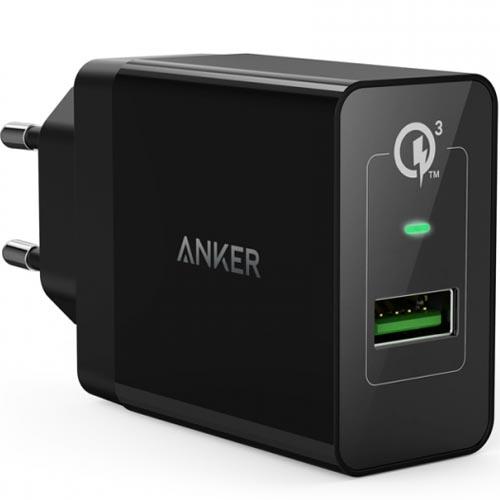 Сетевое зарядное устройство Anker PowerPort USB 3.0 чёрное + кабель micro-USB (B2013L11)Сетевые зарядки<br>Несмотря на компактные размеры PowerPort обеспечит быструю зарядку гаджетов.<br><br>Цвет товара: Чёрный<br>Материал: Пластик