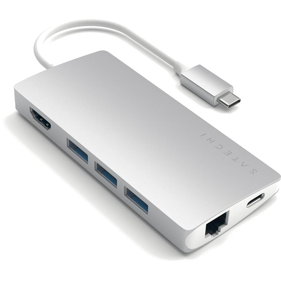 Переходник Satechi Type-C Multi-Port Adapter 4K With Ethernet V2 серебристый (ST-TCMA2S)Хабы - разветвители USB<br>Позволяет подключать к MacBook c портом USB-C одновременно до шести устройств и две карты памяти SD и micro-SD.<br><br>Цвет товара: Серебристый<br>Материал: Металл