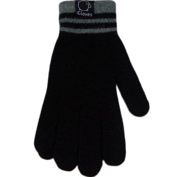 Перчатки шерстяные iGloves (v5) для iPhone/iPod/iPad/etc чёрные с серыми манжетами (Размер M)Перчатки для экрана<br>Перчатки iGloves  — отличный подарок на Новый Год!<br><br>Цвет товара: Чёрный<br>Материал: Овечья шерсть<br>Модификация: M
