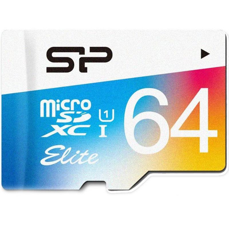 Карта памяти Silicon Power Elite Colorful microSDXC 64 Гб (85 МБ/с) UHS-1 Class 10Карты памяти<br>Флеш-карты серии Elite полностью отвечают новым спецификациям Ultra High Speed Class 1.<br><br>Цвет товара: Чёрный<br>Материал: Пластик<br>Модификация: 64 Гб