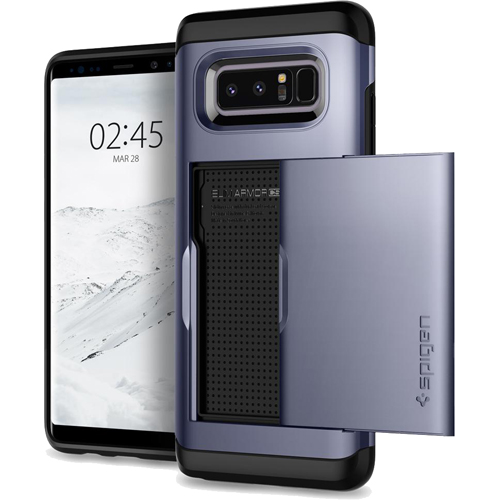 Чехол Spigen Slim Armor CS для Samsung Galaxy Note 8 (Orchid Gray) серый ( 587CS22073)Чехлы для Samsung Galaxy Note<br>Spigen Slim Armor CS — это два прочнейших слоя защиты от повреждений для вашего смартфона, плюс отделение для ваших кредитных карт или визиток.<br><br>Цвет товара: Серый<br>Материал: Термопластичный полиуретан, поликарбонат