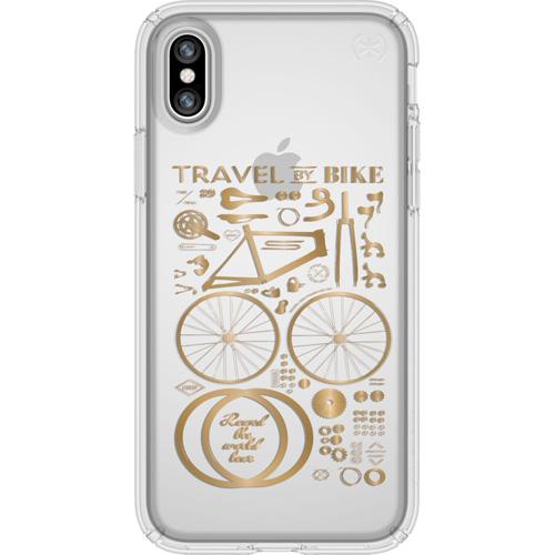 Чехол Speck Presidio Clear + Print для iPhone X (City Bike Metallic Gold) прозрачныйЧехлы для iPhone X<br>Чехлы-накладки Speck разработаны специально для тех, кто предпочитает яркие и, при этом, надёжные чехлы для своего смартфона<br><br>Цвет товара: Прозрачный<br>Материал: Поликарбонат