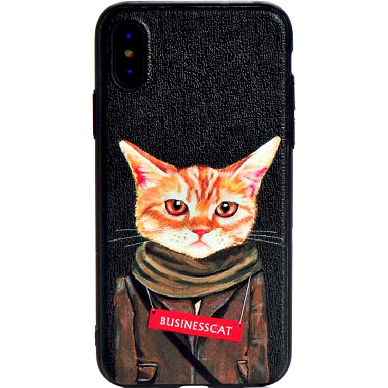 Чехол Remax Creative Case для iPhone X Business CatЧехлы для iPhone X<br>Remax Creative Case изготовлены из высококачественного силикона с иллюстрациями от Heather Mattoon.<br><br>Цвет товара: Чёрный<br>Материал: Силикон