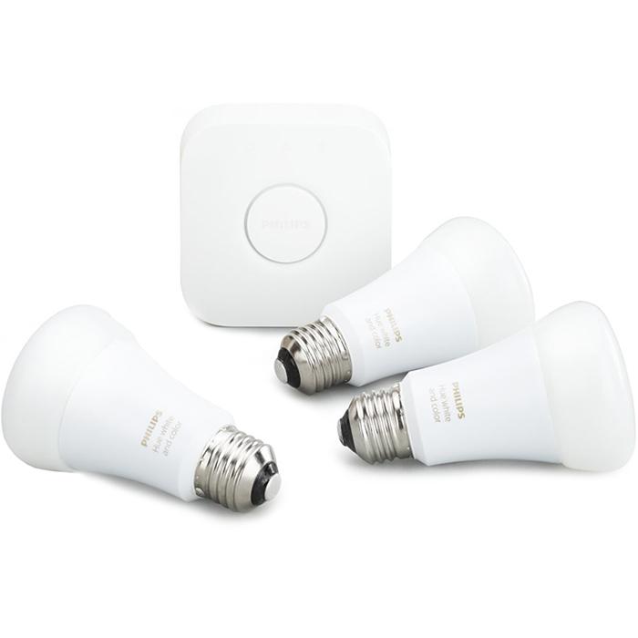 Комплект умных ламп Philips Hue White and Color Ambiance E27 Starter Kit с маршрутизаторомУмные лампы<br>Благодаря комплекту умных ламп Philips Hue вы сможете создать в своём доме настоящую симфонию света!<br><br>Цвет: Белый<br>Материал: Пластик, металл, керамика