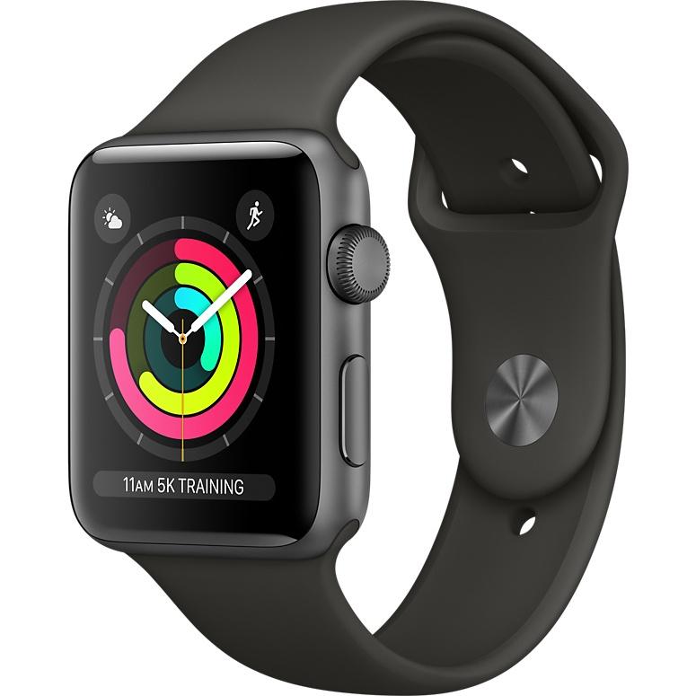 Умные часы Apple Watch Series 3 42мм, алюминий «серый космос», спортивный ремешок серого цветаУмные часы<br>Apple Watch S3 42mm Space Gray Aluminum Case, Gray Sport Band<br><br>Цвет товара: Серый<br>Материал: Алюминий, фторэластомер, задняя панель из композитного материала, стекло Ion-X повышенной прочности<br>Цвета корпуса: серый<br>Модификация: 42 мм