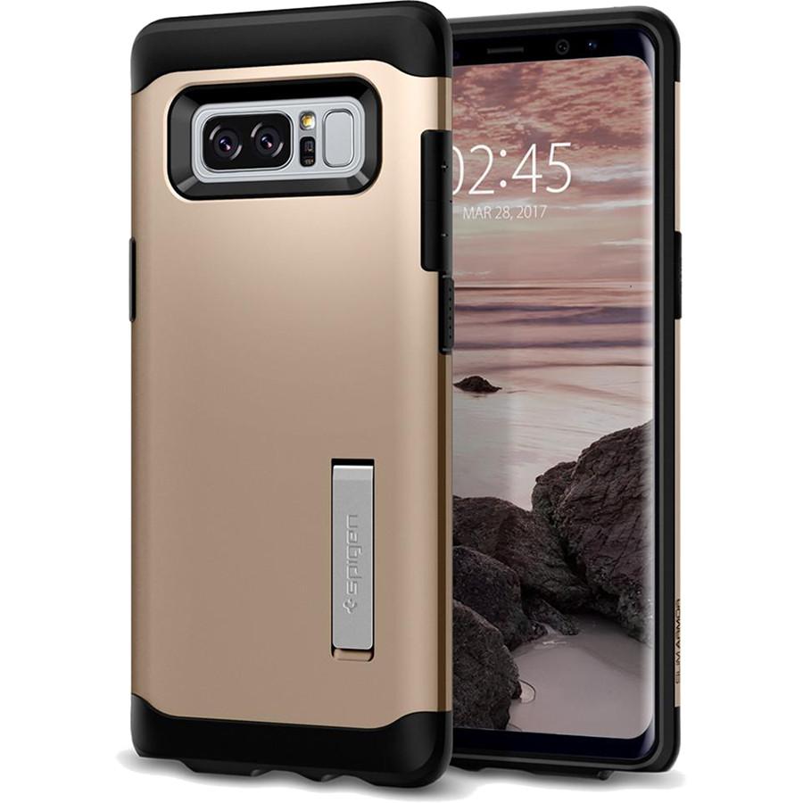 Чехол Spigen Slim Armor для Samsung Galaxy Note 8 золотистый шампань (587CS21837)Чехлы для Samsung Galaxy Note<br>Spigen Slim Armor — это два прочнейших слоя защиты от повреждений для вашего смартфона.<br><br>Цвет товара: Золотой<br>Материал: Термопластичный полиуретан, поликарбонат