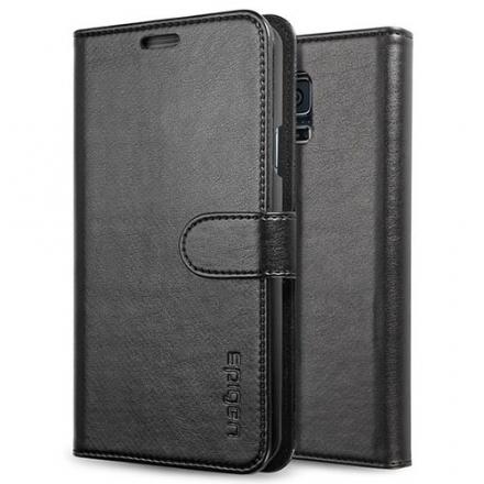 Чехол Spigen Wallet S для Samsung Galaxy S5Чехлы для Android<br>Чехол Spigen Wallet S для S5 черный SGP10818<br><br>Материал: Пластик, кожа, текстиль