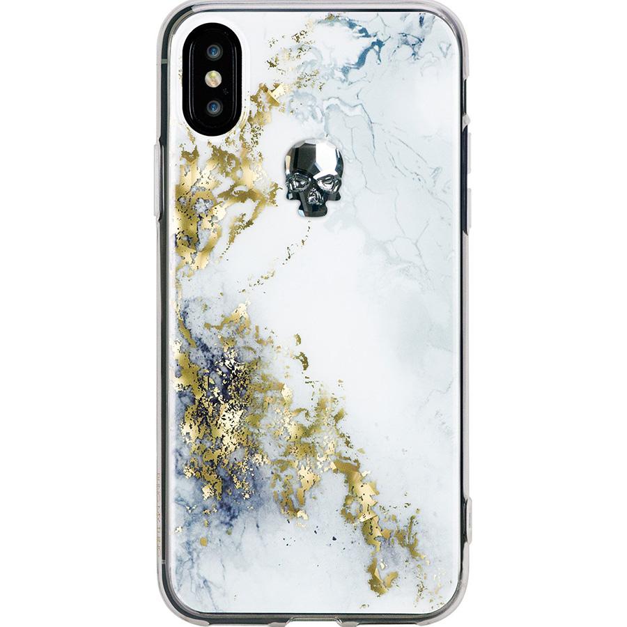 Чехол Bling My Thing Treasure Collection Alabaster для iPhone X серебристый черепЧехлы для iPhone X<br>Bling My Thing Treasure Collection превратит ваш iPhone X в произведение искусства!<br><br>Цвет товара: Белый<br>Материал: Поликарбонат, полиуретан