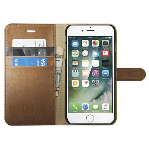 Чехол Spigen Wallet S для iPhone 7 /8 Plus (Айфон 8 Плюс) коричневый (SGP-043CS20544)Чехлы для iPhone 7 Plus<br><br><br>Цвет товара: Коричневый<br>Материал: Поликарбонат, полиуретановая кожа
