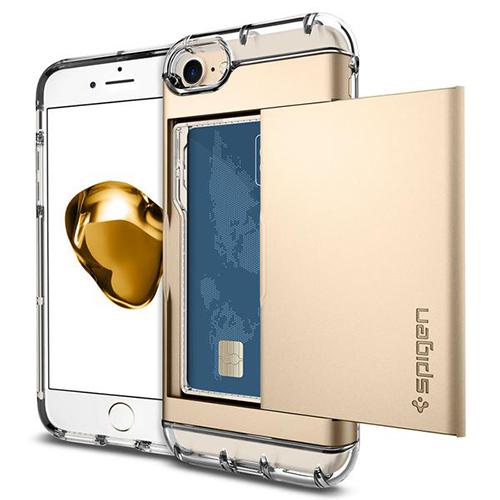 Чехол Spigen Crystal Wallet для iPhone 7/ iPhone 8 шампань (SGP-042CS20983)Чехлы для iPhone 7<br><br><br>Цвет товара: Золотой<br>Материал: Поликарбонат, термопластичный полиуретан (ТПУ)