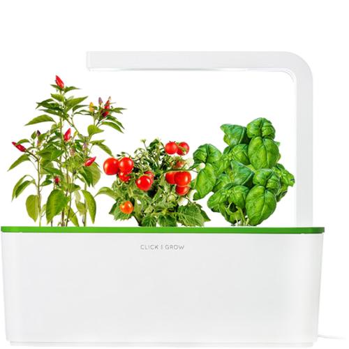 Умный сад Click and Grow Томаты Черри, Перец Чили, Базилик (зелёная крышка)Умные сады и фермы<br>В системе Умный сад от Click and Grow есть все, что необходимо для нормального роста растения.<br><br>Цвет товара: Зелёный<br>Материал: Пластик