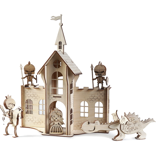 Конструктор 3D Lemmo деревянный Сказочный Замок3D пазлы, конструкторы, головоломки<br>Конструктор Lemmo 3D деревянный, подвижный - Сказочный Замок<br><br>Цвет товара: Бежевый<br>Материал: Натуральное дерево